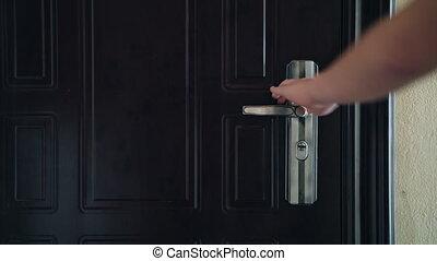 opened., porte, espoir, débuts, symbole, haut, nouveau, frais, fin, poignée, entrance., confection