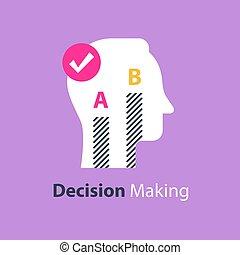 opinion, poll, choisir, confection, entre, options, deux, ou, décision, enquête