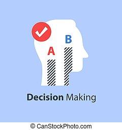 options, deux, décision, enquête, confection, opinion, poll, entre, ou, choisir
