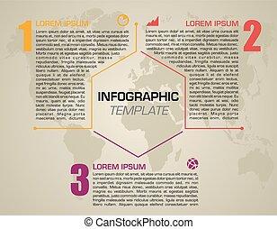options, orange, brochure, être, vecteur, gabarit, présentations, conception, boîte, hexagon., coloré, infographics, toile, disposition, utilisé, flot travail, moderne