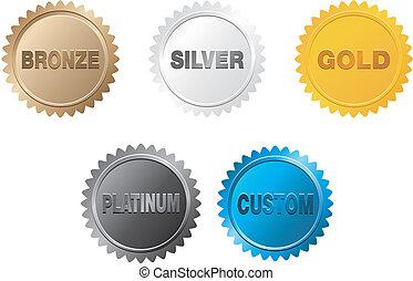 or, écusson, argent, platine, bronze