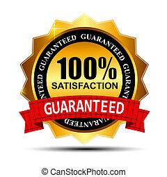 or, 100%, guaranteed, illustration, étiquette, satisfaction, vecteur, ruban rouge