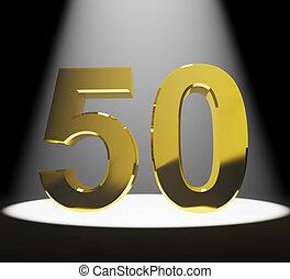 or, 50th, anniversaires, anniversaire, nombre, closeup, représenter, ou, 3d