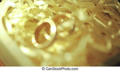 or, anneaux, haut, deux, mariage, fin, table