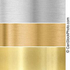 or, argent, bronze, texture, fond, collection, :, métal