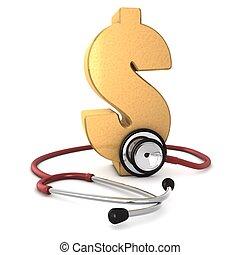 or, autour de, dollar, informatique, fond, isolé, 3d, engendré, blanc rouge, symbole, stéthoscope