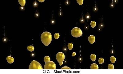 or, ballons, étoiles chute, flotter