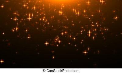 or, beaucoup, particules, rendre, étoiles, noir, scintillement, celebratory, toile de fond, 3d
