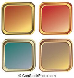or, bronze, (vector), cadres, ensemble, argent