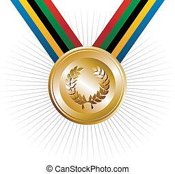 or, couronne, jeux, laurier, jeux olympiques, médaille
