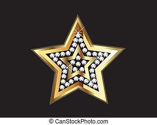 or, diamants, étoile