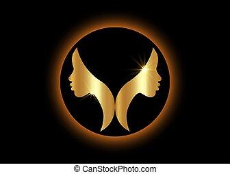 or, doré, logo, conception, rond, africaine, isolé, figure, profil, noir, femmes, femme, vecteur, arrière-plan., silhouette, illustration, profile., américain