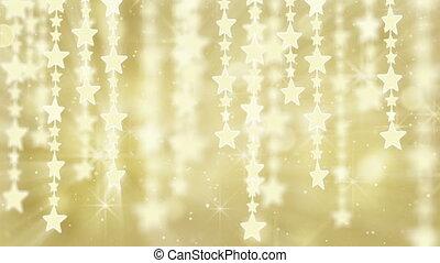 or, dos, étoiles, pendre, brillant, boucle
