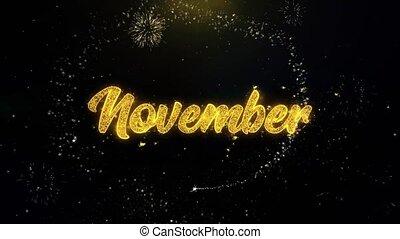 or, feux artifice, particules, écrit, exploser, novembre, exposer
