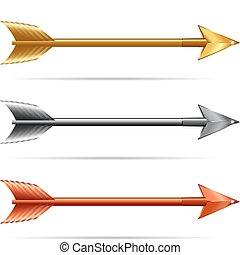 or, &, flèches, -, trois, argent, bronze