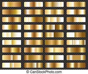or, grand, ensemble, métallique, gradients, fond, transparent