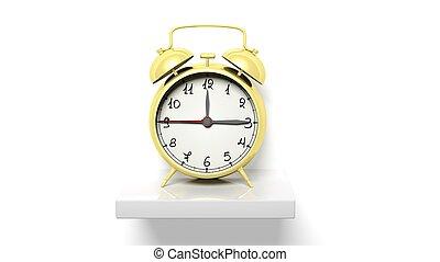 or, horloge, mur, étagère, reveil, retro, blanc