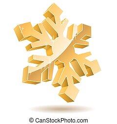 or, isolé, arrière-plan., vecteur, snowflake blanc, 3d
