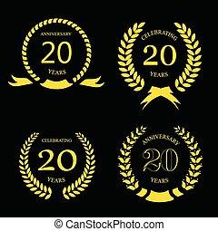 or, -, laurier, anniversaire, ensemble, 20 années, vingt, couronne