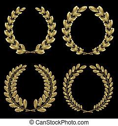 or, laurier, ensemble, chêne, couronne