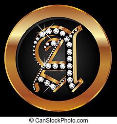 or, lettre, diamants