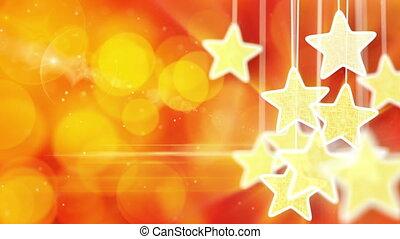 or, lumières, bokeh, rouges, étoiles, boucle