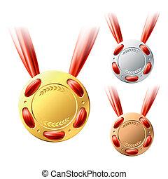 or, médailles, argent, bronze