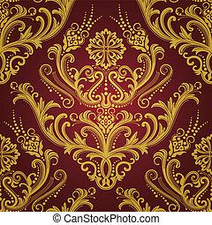 or, &, papier peint, luxe, floral, rouges