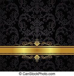 or, papier peint, seamless, noir, floral, ruban