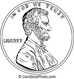 or, penny, américain, une, vecteur, cent, monnaie, argent
