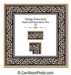 or, pourpre, vendange, cadre, royal, spirale, vigne, 3d