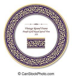 or, pourpre, vendange, cadre, royal, spirale, vigne, retro, rond
