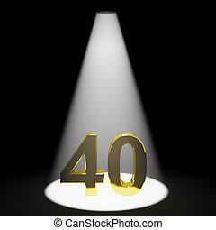 or, représenter, anniversaires, nombre, anniversaire, closeup, 40th, ou, 3d