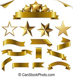 or, rubans, étoiles, ensemble