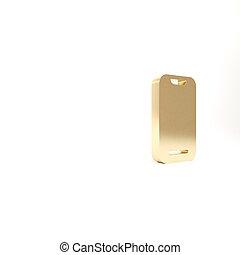 or, smartphone, arrière-plan., blanc, icône, illustration, mobile, 3d, téléphone, isolé, render