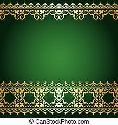 or, vendange, -, vecteur, arrière-plan vert, frontière