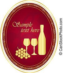 or, vin, vecteur, étiquette