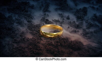 or, volcan, anneau, enfumé, terrestre