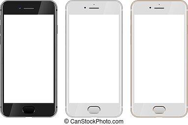 or, vue, noir, vide, smartphone, devant, écran, blanc, moderne