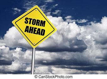 orage, devant, panneaux signalisations