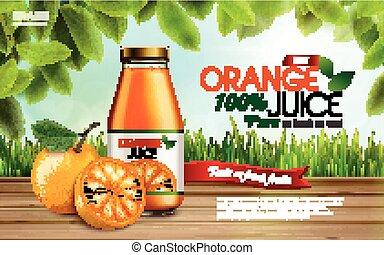 orange, annonce, jus