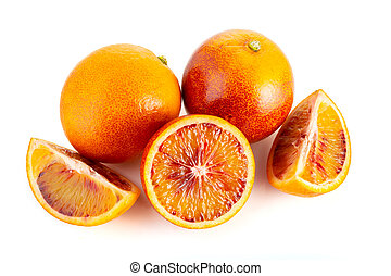 orange, blanc, isolé, fond, sanguine