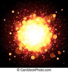 orange, brûler, vecteur, explosion, espace