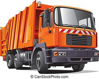 orange, camion, déchets