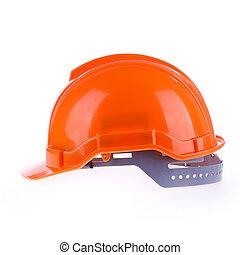 orange, casque, dur, sécurité, chapeau