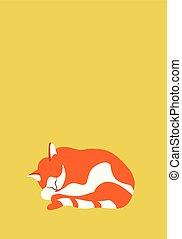 orange, chat endormi