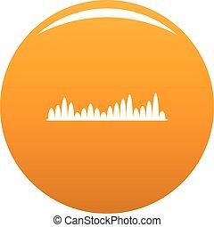 orange, compensateur, niveau, vecteur, icône