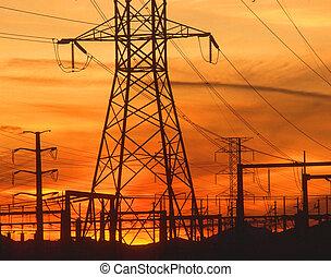 orange, coucher soleil, pylônes, électricité