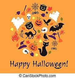 orange, détails, forme, texte, cercle, arrière-plan., halloween