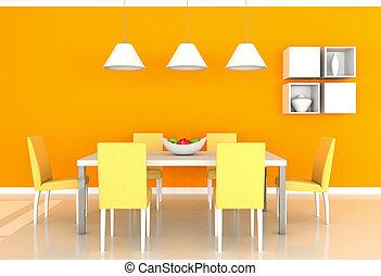 orange, dîner, salle moderne